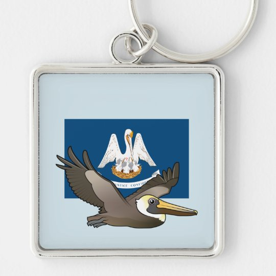 Staat Birdorable von Louisiana: Brown-Pelikan Silberfarbener Quadratischer Schlüsselanhänger