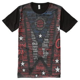 Staat der Ohio-Flaggen-Wort-Kunst ganz über T-Shirt Mit Bedruckbarer Vorderseite
