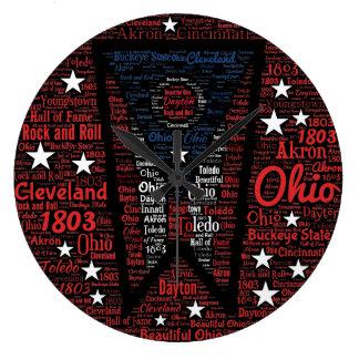 Staat Ohio-Wort-Kunst-der runden (großen) Wand-Uhr Große Wanduhr