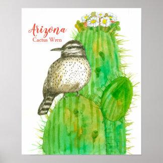 Staats-Vogel des Arizona-Kaktus-Zaunkönigs Poster