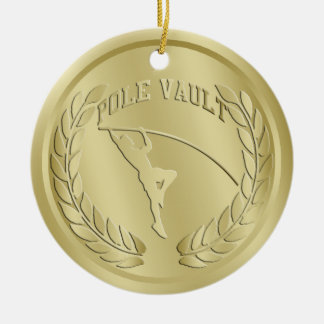 Stabhochsprung-Gold tonte Medaillen-Verzierung Keramik Ornament