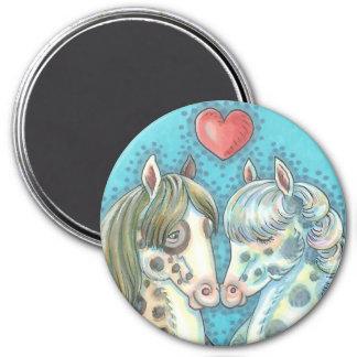 Stablematespinto-Ponys PFERDEmagnet rund Runder Magnet 7,6 Cm