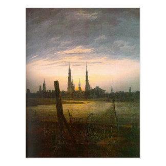 Stadt am Moonrise durch Caspar David Friedrich Postkarte