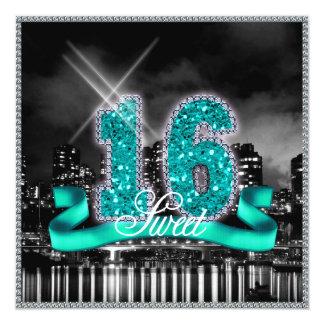 Stadt beleuchtet 16. Geburtstag aquamarines ID120 Karte
