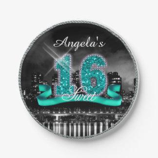 Stadt beleuchtet 16. Geburtstag aquamarines ID120 Pappteller