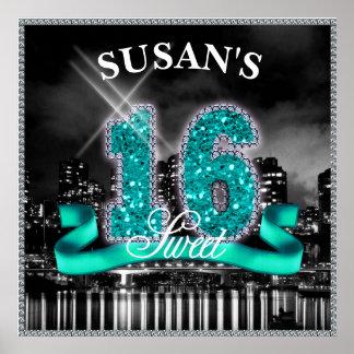 Stadt beleuchtet 16. Geburtstag aquamarines ID120 Poster