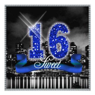 Stadt beleuchtet 16. Geburtstag blaues ID118 Karte