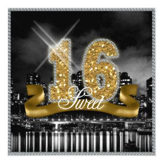 Stadt beleuchtet 16. Geburtstag-Gold ID243 Karte