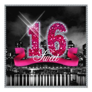 Stadt beleuchtet 16. Geburtstag rosa ID117 Karte