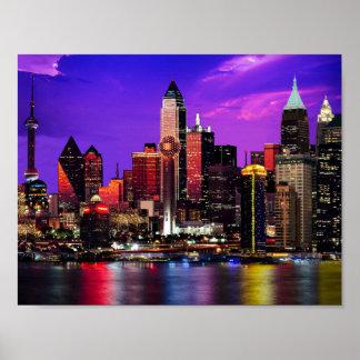 Stadt beleuchtet Himmels-Flickwerk Poster