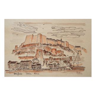 Stadt von Bonifacio | Korsika, Frankreich Holzleinwand