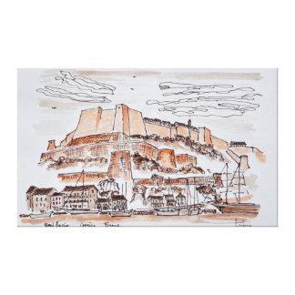 Stadt von Bonifacio | Korsika, Frankreich Leinwanddruck
