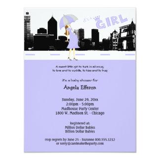 Stadtbild-Lavendel und graue Babyparty-Einladung 10,8 X 14 Cm Einladungskarte