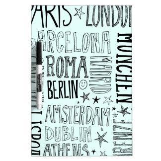 Städte Typografie-Stadt-Geschenke Europas der Trockenlöschtafel