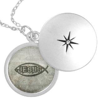 Städtische konkrete Jesus-Fische Runde Medaillon Halskette