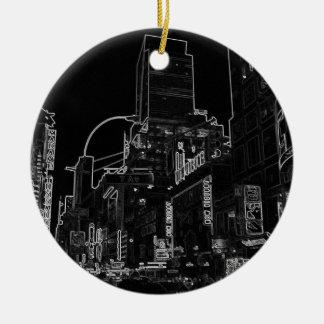 Städtische Nachtweg-New- York CityTimes Rundes Keramik Ornament