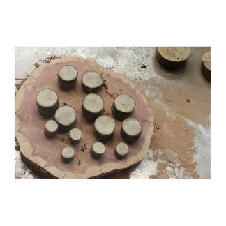 Stahltabelle mit hölzernen Staplungsscheiben und Acryldruck