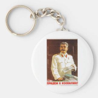 Stalin-Plakatkunst Standard Runder Schlüsselanhänger