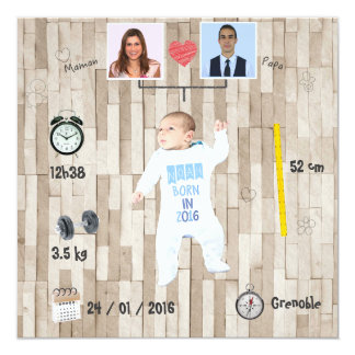 Stammbaum ⎮ Faire-part Geburt Quadratische 13,3 Cm Einladungskarte