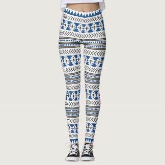 Stammes- ethnischer Schwarz-weißer blauer Azteke Leggings