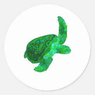 Stammes- grüne Meeresschildkröte Runder Aufkleber