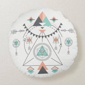 Stammes- modernes buntes geometrisches Totem Rundes Kissen
