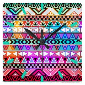 Stammes- Muster-Wanduhr Quadratische Wanduhr