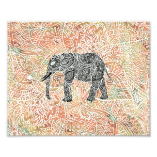 Stammes- Paisley-Elefant-buntes Fotodruck
