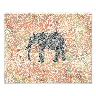Stammes- Paisley-Elefant-buntes Hennastrauch-Muste Fotodruck