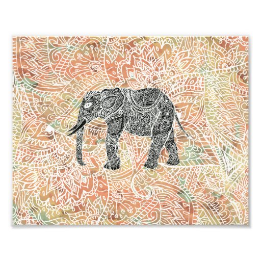 Stammes- Paisley-Elefant-buntes Hennastrauch-Muste Kunstphoto
