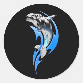Stammes- Schwertwal-runde Aufkleber