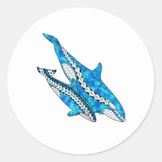 Stammes- Schwertwal-Wale Runder Aufkleber