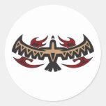 Stammes- Tätowierung Falke-Eagles Runder Aufkleber