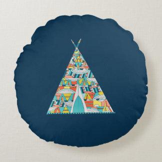 Stammes- Teepee-Kissen, Wohngestaltung, Blau, Rundes Kissen