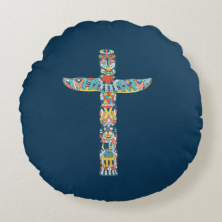 Stammes- Totem-Kissen, Wohngestaltung, Blau, Rundes Kissen