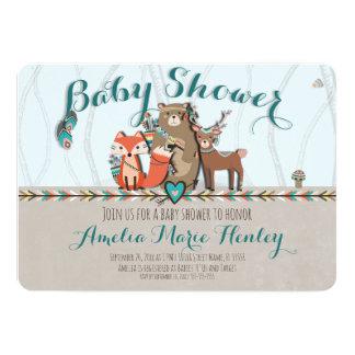 Stammes- Waldgeschöpf-Babyparty-Einladung Karte