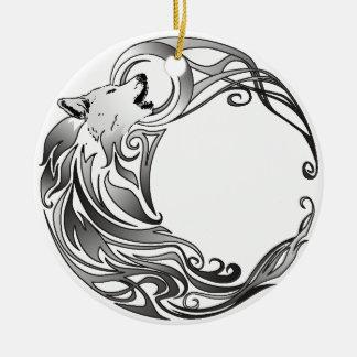 Stammes- Wolf - schattiert Keramik Ornament