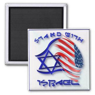 Stand mit Israel - mit Buchstaben gekennzeichnete Quadratischer Magnet