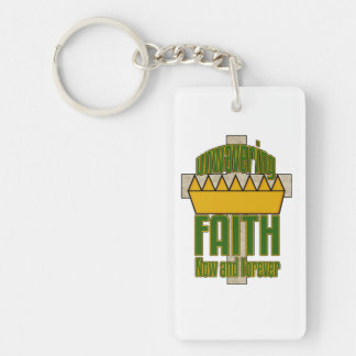 Standhafter Glauben-grüne und orange Schlüsselanhänger