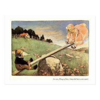 Ständiges Schwanken, Margery Daw Kinderzimmer-Reim Postkarte