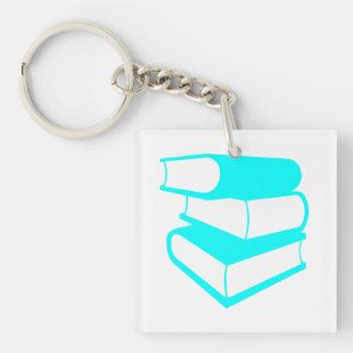 Stapel der cyan-blaue Buch-Schlüsselkette Einseitiger Quadratischer Acryl Schlüsselanhänger