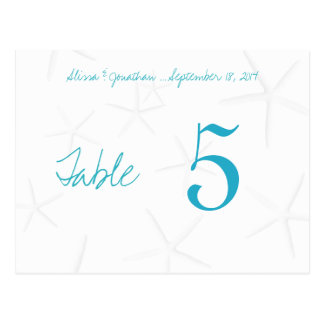 Starfish-Aqua nummeriert Empfangs-Tabellen-Karten Postkarten