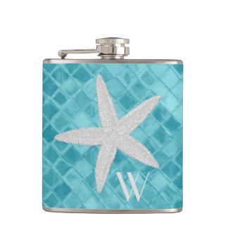 Starfish auf Aqua-Seeglas-Monogramm Flachmann