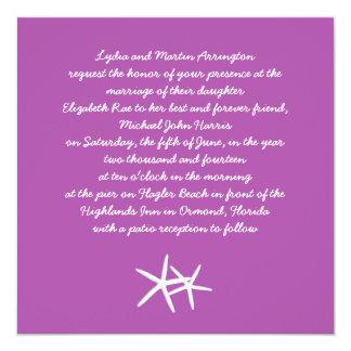 Starfish auf Lila, Strand-Themed Hochzeit laden Quadratische 13,3 Cm Einladungskarte
