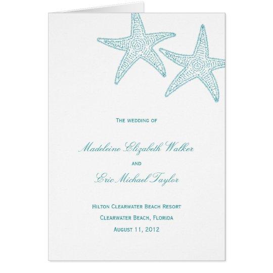 Starfish-Hochzeits-Programm-Karte Karte