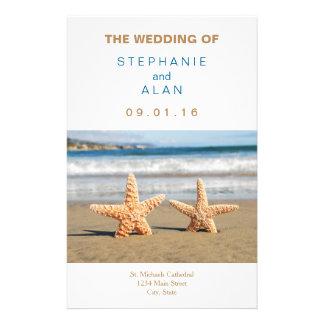 Starfish-Paar-Strand-Hochzeits-Programme 14 X 21,6 Cm Flyer