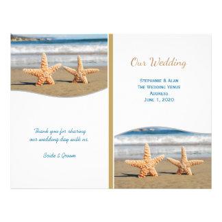 Starfish-Paar-Strand-Hochzeits-Programme 21,6 X 27,9 Cm Flyer