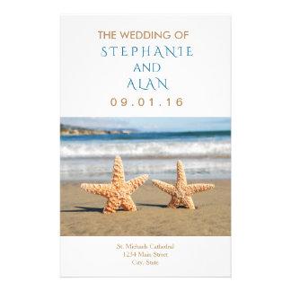 Starfish-Paar-Strand-Hochzeits-Programme Flyer