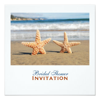 Starfish verbinden auf dem Strand-Brautparty Quadratische 13,3 Cm Einladungskarte
