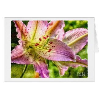 Stargazer-Lilien-Blume/Blumenwatercolor-Kunst Karte